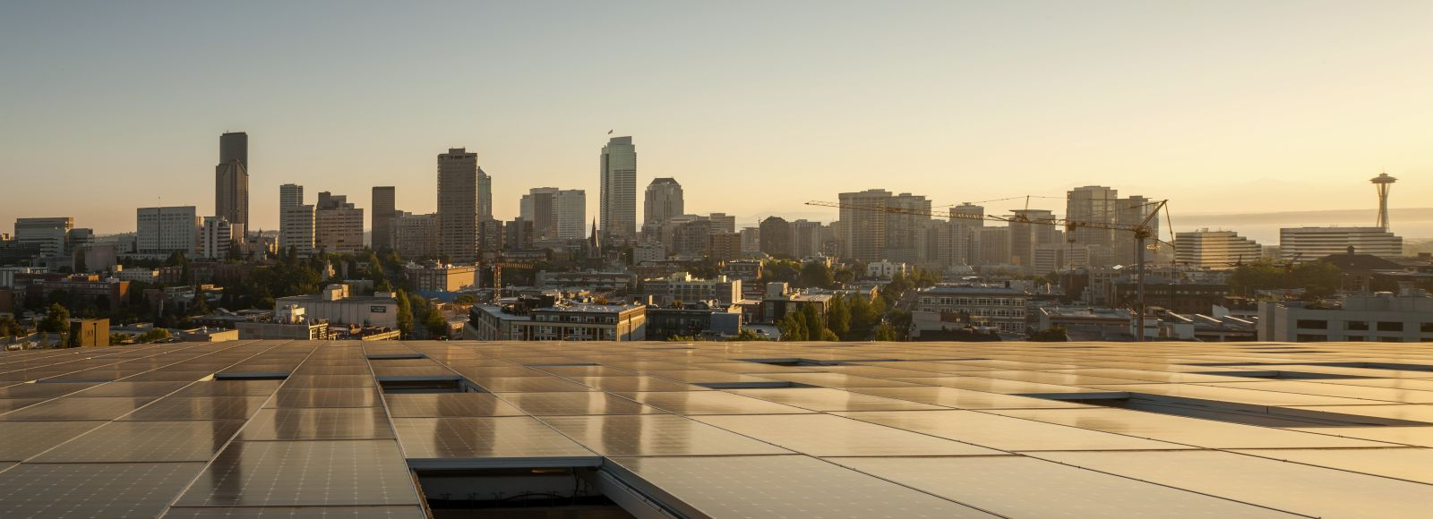 Bullitt Center solar panels with skyline