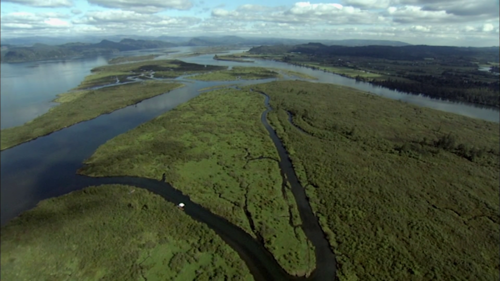 An aerial view of the Columbia River