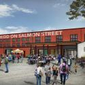 architectural rendering of The Redd on Salmon street plaza showing lots of people on a sunny day at a farmers market