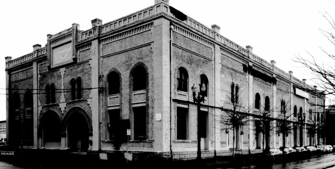 black and white image of the natural capital center before being restored
