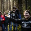 Coos Bay high schoolers, on a mushroom hunt in the woods
