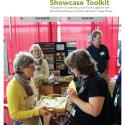 "pamphlet cover with title ""farm to school showcase toolkit"" and Ecotrust logo with photo of a woman at a trade show handing samples to another woman"