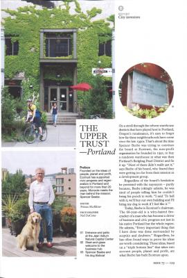 A magazine page featuring building photos, a man and a dog and text.