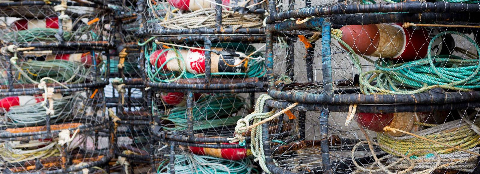 fishing ropes and baskets stacked up