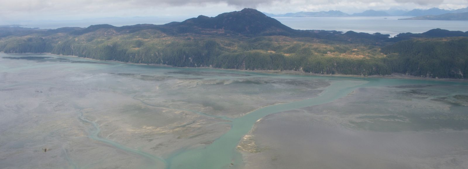 aerial shot of turquoise water and wetland with mountain and forests in background