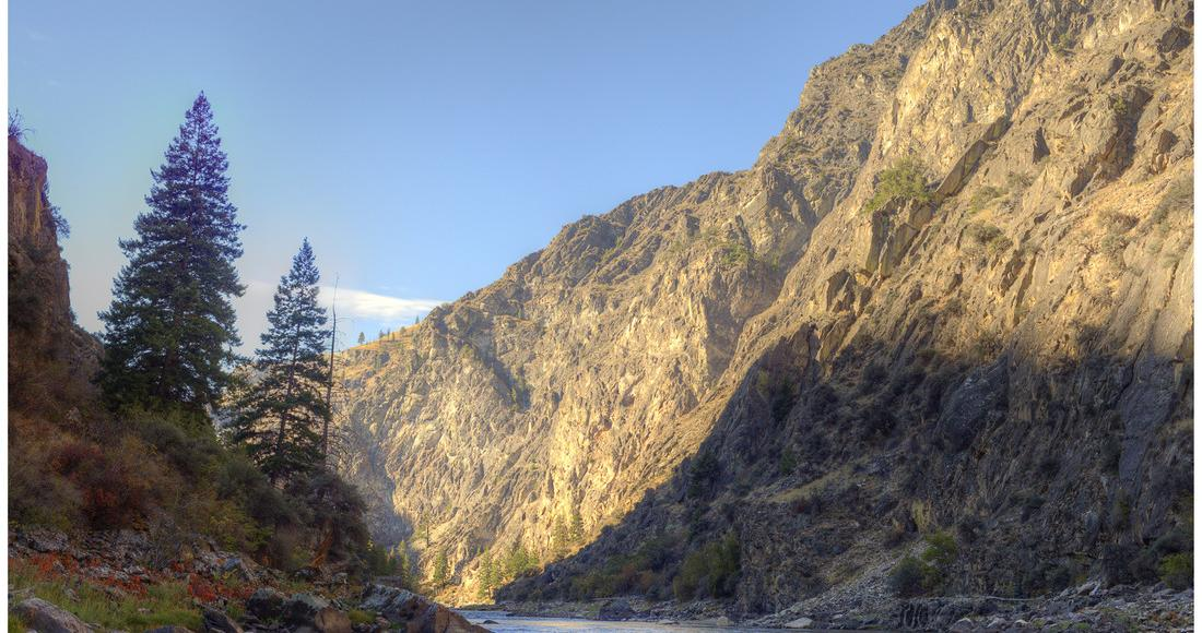 Shadows on the side of a canyon above the Salmon River