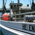 Side of fishing boat named Helen