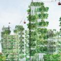 illustration of city skyline with buildings covered in greenery.