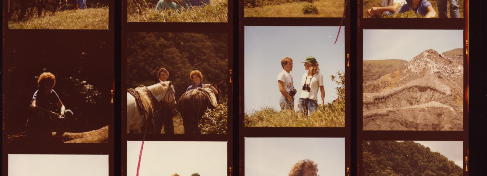 early 1980's slides of young men and women hiking and riding horses, costa rica
