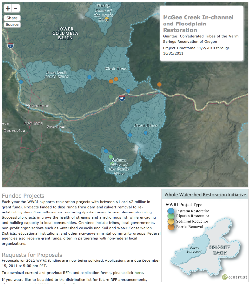 Map of the lower Columbia Basin showing McGee Creek in-channel and floodplain restoration