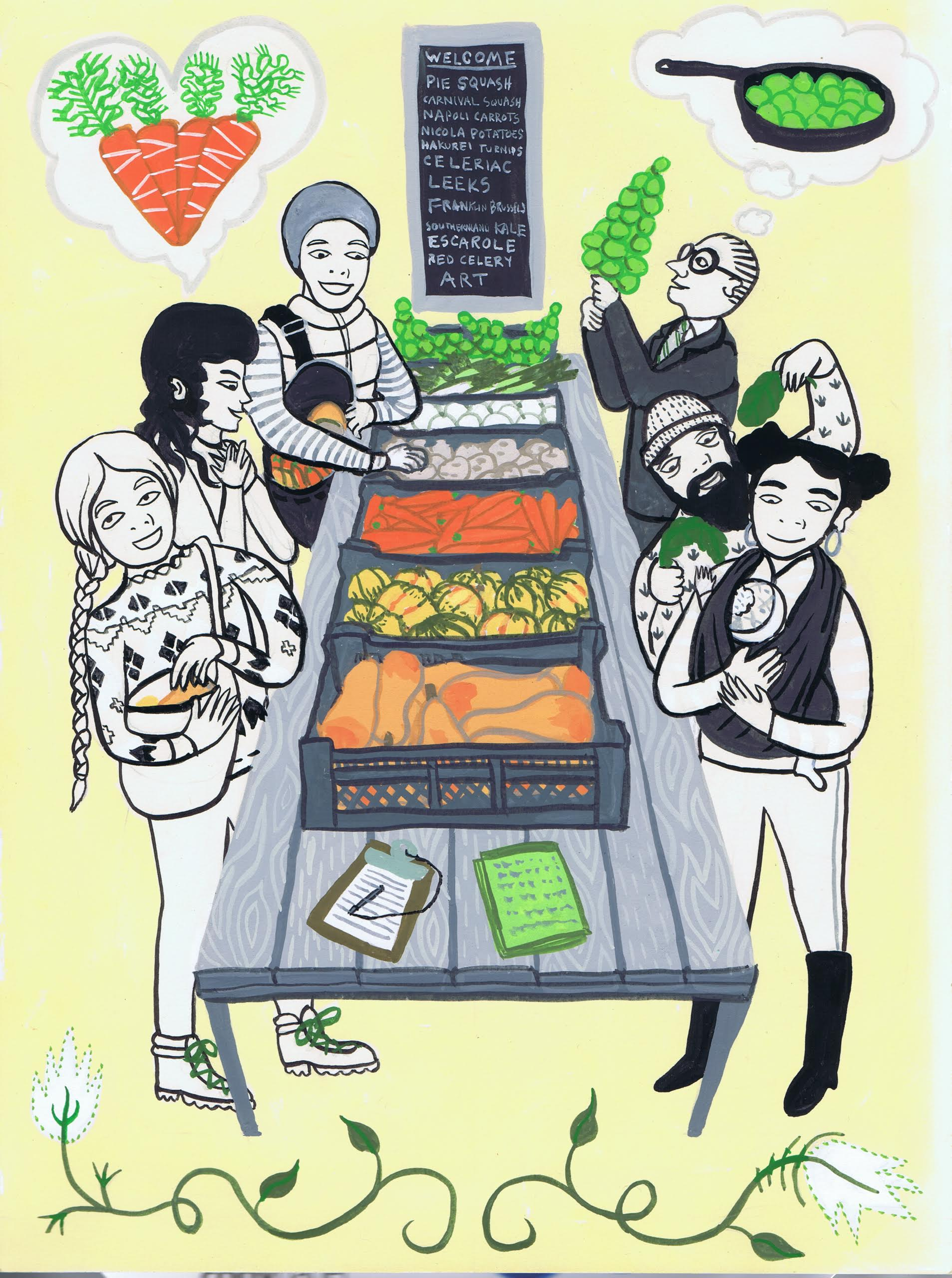 Illustration of CSA Pickup - a long table with produce, various people gathering their share.