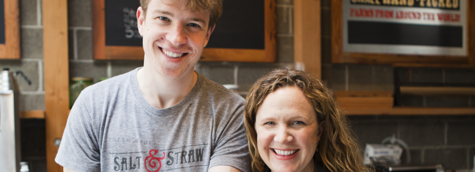 Kim & Tyler Malek of Salt & Straw Ice Cream holding ice cream cones