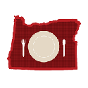 image of place setting inside a red state of oregon