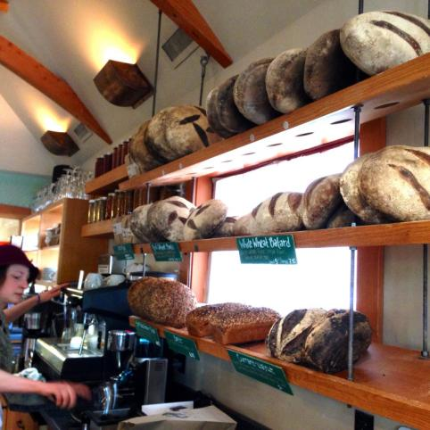 The display of fresh rustic wholegrain loaves at Tabor Bread on Southeast Hawthorne.