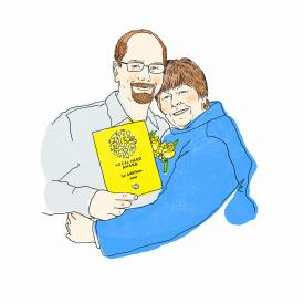 Illustration of Vicky Hertel and her son, Chris, receiving the 2014 Local Hero Award for farm