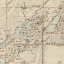 An 1890 land survey map shows that a good portion of Waite Ranch, center, was made up of tidal channels before being drained for agricultural use