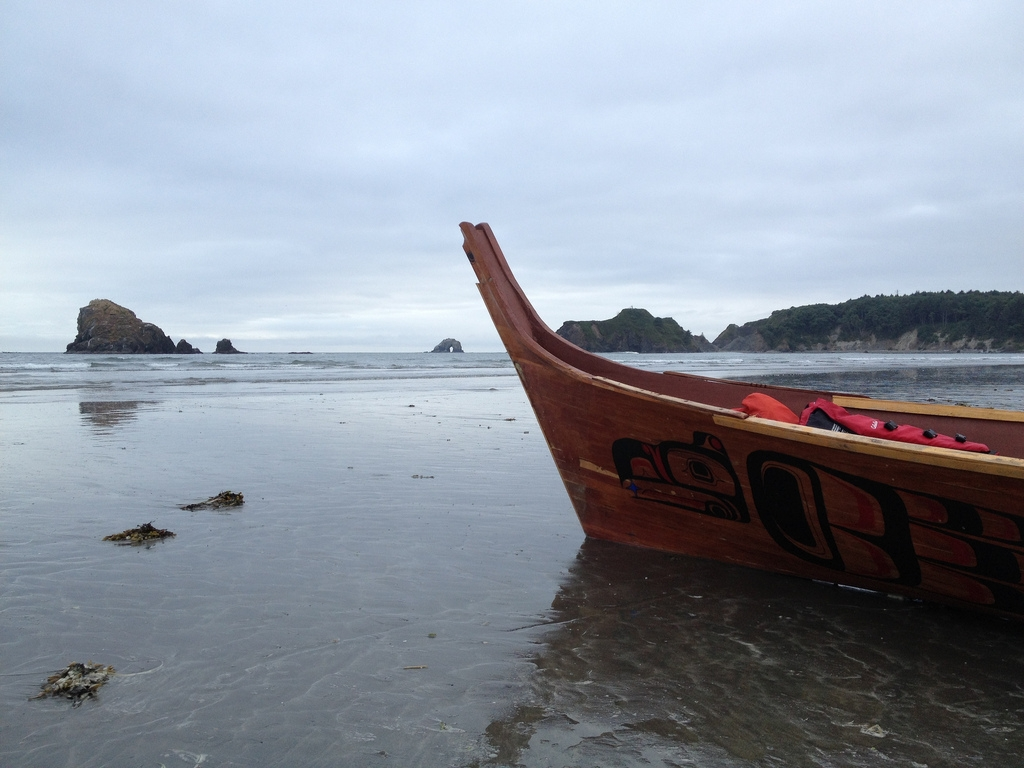 The final leg of the Canoe Journey ended on the beach at the Quinault Indian Reservation in Taholah, WA. Photo by Sam Beebe, Ecotrust.