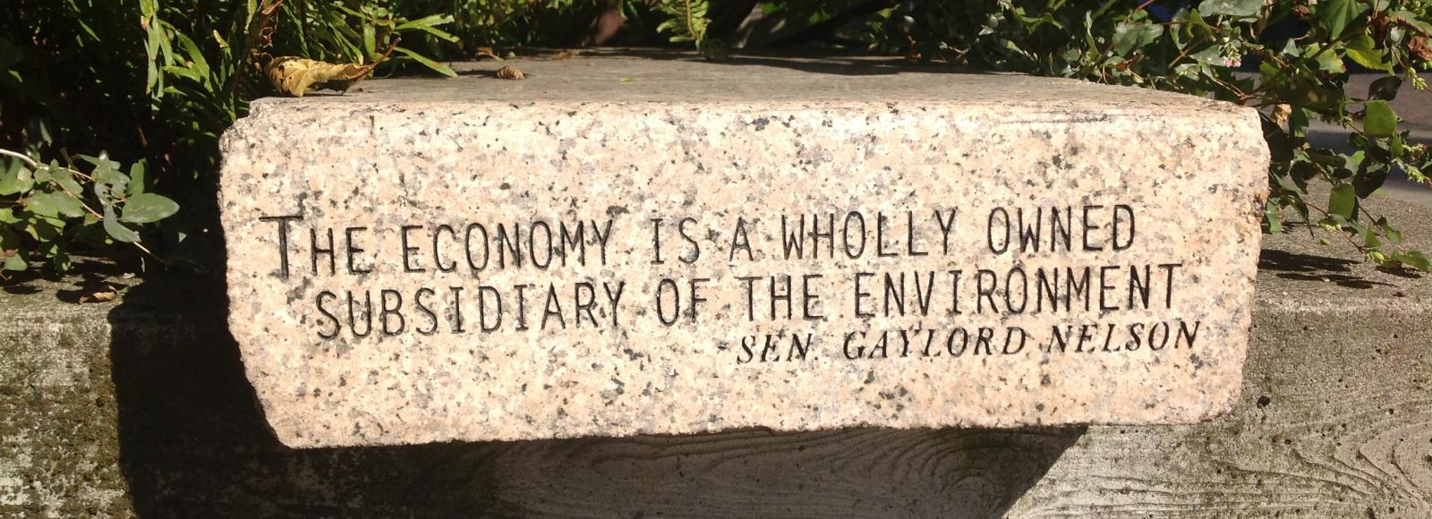 Granite bench engraved with