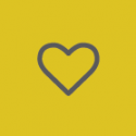 grey heart on yellow background