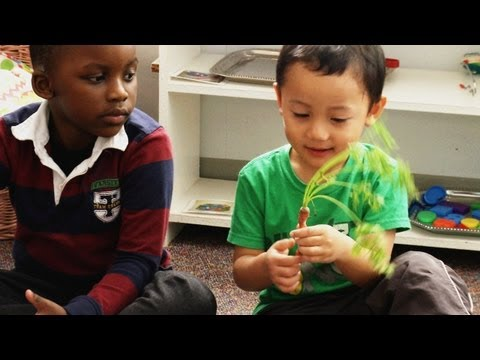 Two kids examine a carrot in a classroom.