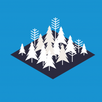 Illustration of trees on a geometric shape, with a blue background