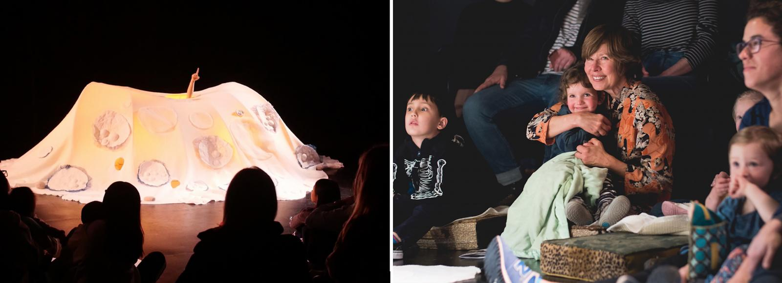 The left half of the image shows a glowing sculpture, covered in moon decals, with a child's hand extending from an opening at the top. The right half of the image shows two mothers and three toddlers in the audience watching with awe.