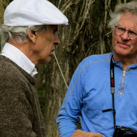 Doug Tompkins speaks with Spencer Beebe during a trip to Tompkins' propert in Chile.
