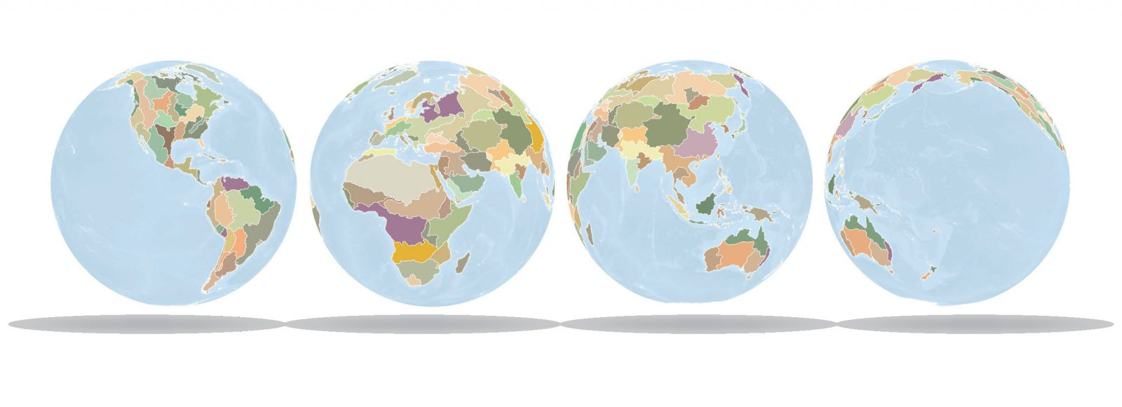 The globe mapped by new regions built around cultural and environmental similarities.
