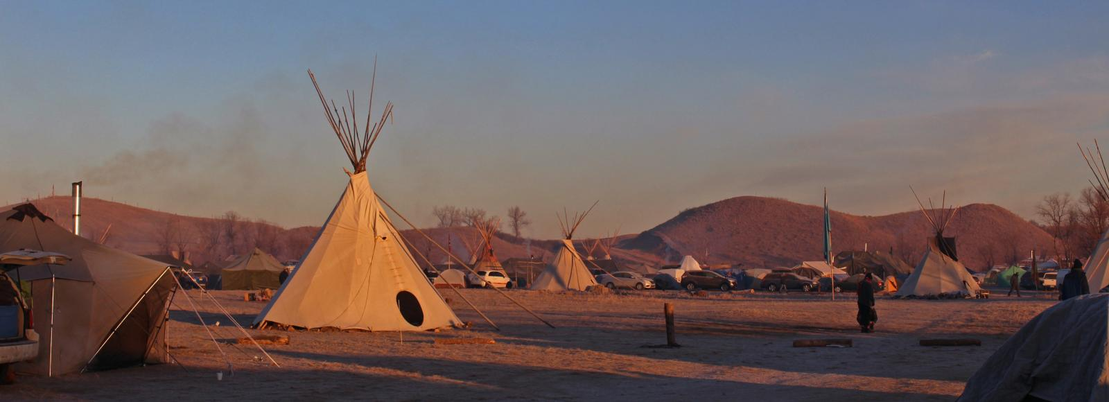sunrise at standing rock, single teepee