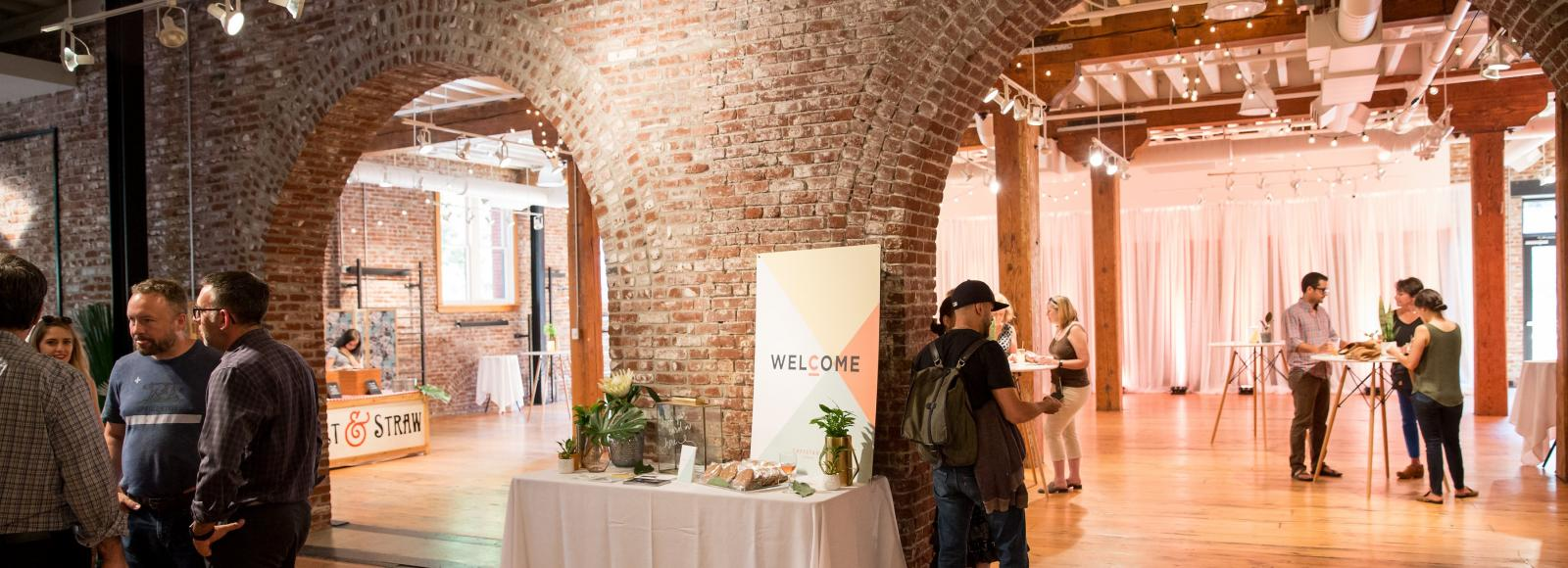 Brick arches in party venue
