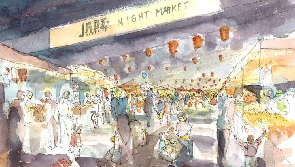 Watercolor image of evening shoppers at cultural market