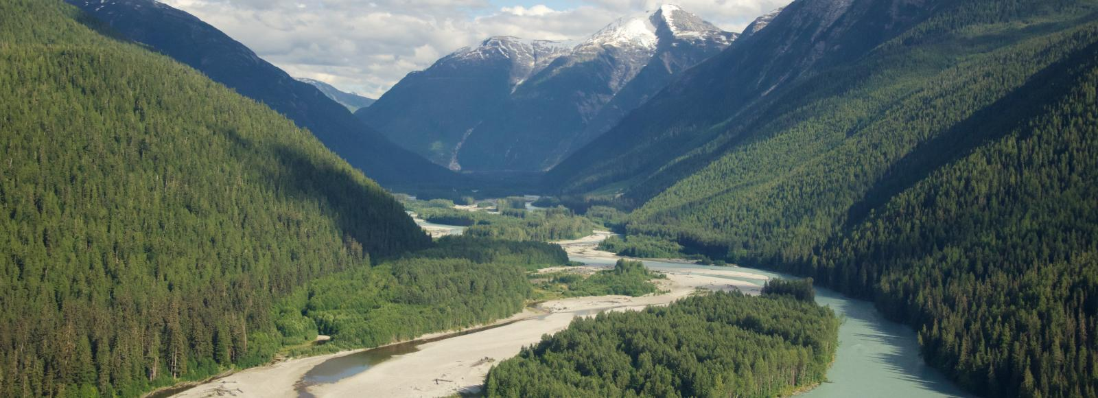 Kitlope river runs through the Kitamaat mountain range in northern British Columbia