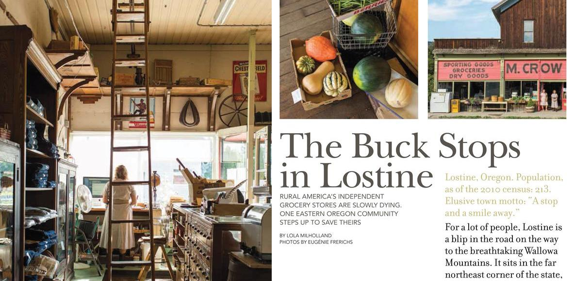 Opening spread of the Edible Portland Winter 2013-14 cover story, The Buck Stops in Lostine