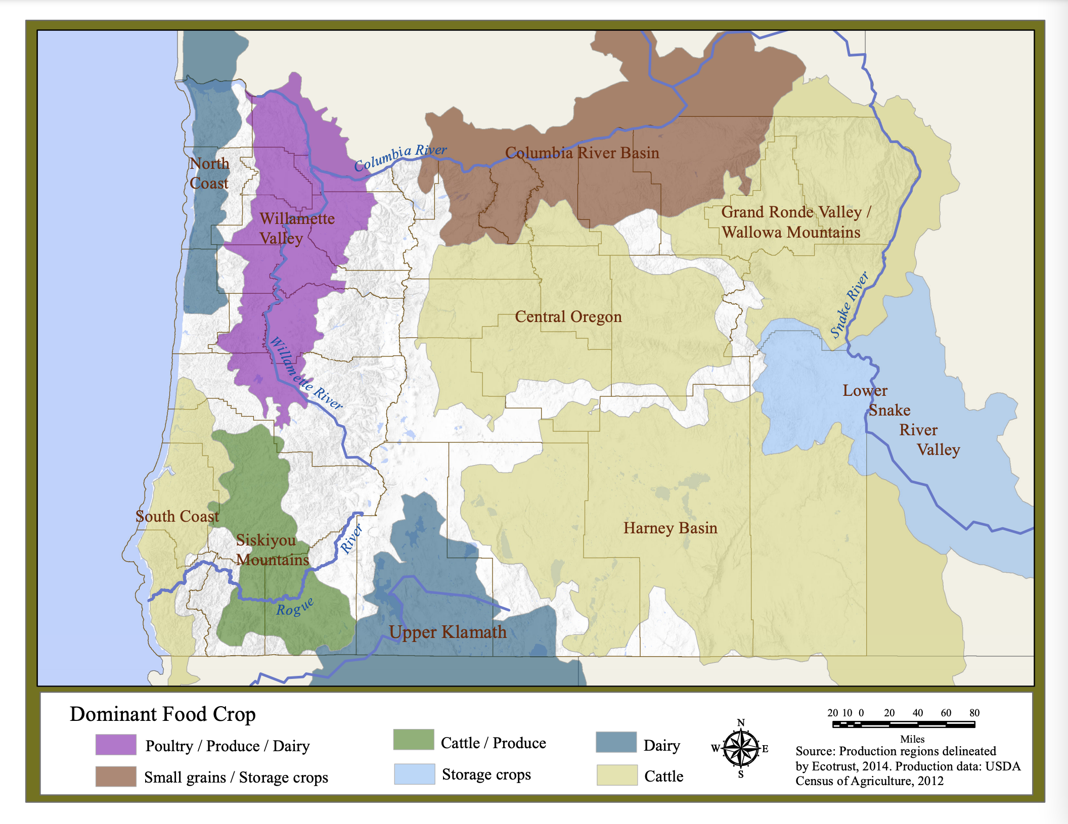 """This map shows the major growing regions across the state of Oregon, highlighting the primary products produced in that area. The inherent heterogeneity of production is dependent on a wide array of geoclimatic and anthropogenic factors, but rarely follow political boundaries. Infrastructure capacity has also emerged differently in different regions due not only to production possibilities and market demand, but also because of varying access to markets, technology lock-in, and path dependence. Learn more from <a href=""""https://ecotrust.org/publication/regional-food-infrastructure/"""">our Oregon Food Infrastructure Gap Analysis</a>."""