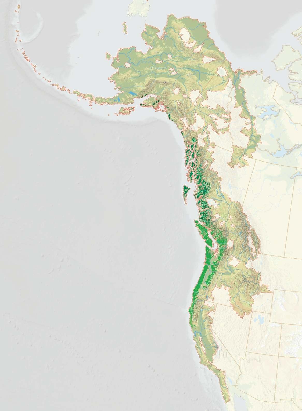 """1995—Coastal Temperate Rainforests: In the early 1990s, Ecotrust founder Spencer Beebe and colleagues began mapping the world's rare coastal temperate rain forests. They found that nearly 50 percent of the original forest (Pacific Northwest historical forest is dark green, above) had been lost. But the biggest stand left was in the Pacific Northwest, stretching from northern California to Southeast Alaska. Born and raised in Oregon, Beebe decided to localize his international focus to """"the rain forests of home."""" Ecotrust would be the vehicle for this new regionally focused work."""
