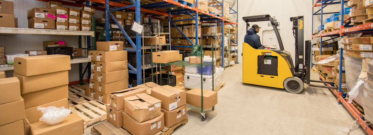 man operates forklift in cold storage space