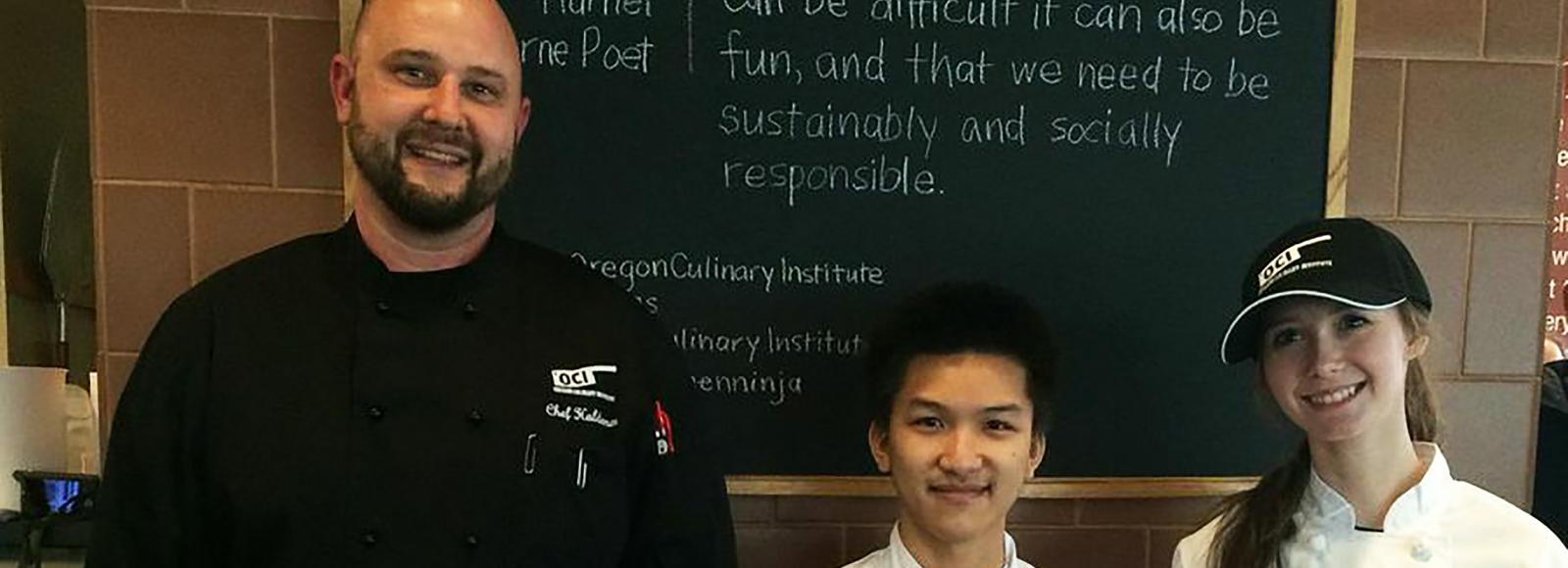 Second place winners Justine Donaldson and Thien Ngyen pose with Chef Christian Haldeman.