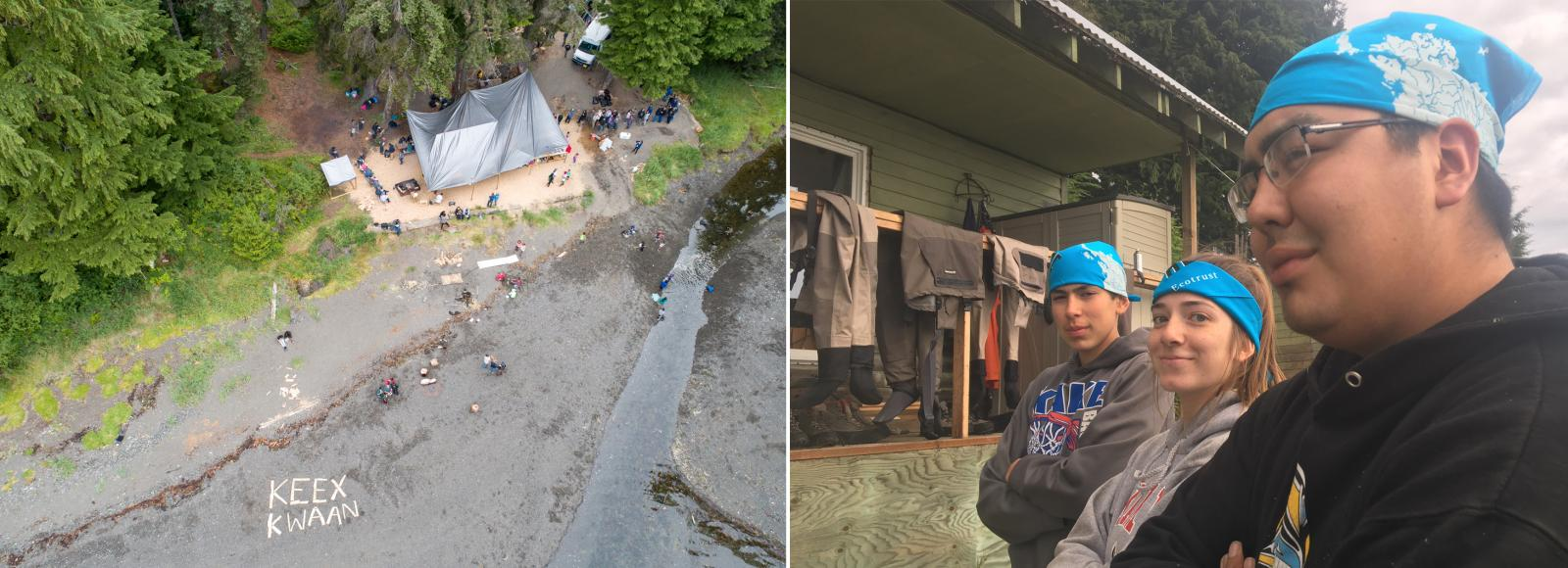 A diptych image. The left image is an aerial photograph showing 2-3 dozen people dotted around a tent-like structure in the clearing of trees. The words