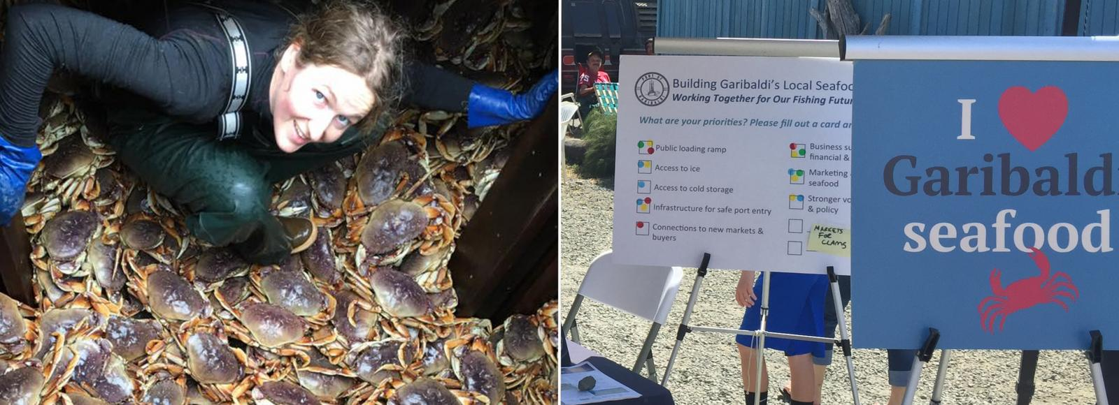 A fisherman looks up at the camera while she stands over a huge Dungeness crab harvest in the left photo; two signs with the right sign reading