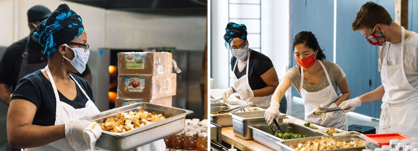 An image of two photos: The left photo shows a woman carrying a stainless steel tray with cubes of tofu; the right photo shows three people in an assembly line placing cooked vegetables and noodles into take-out containers.