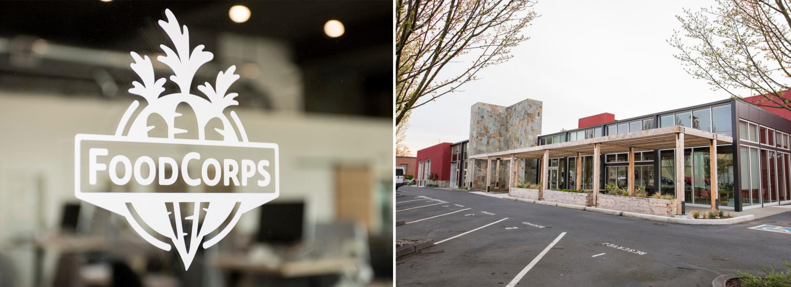 Food Corps logo on a window in the left photo; an office campus in the right photo