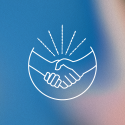 White line art of a handshake over a blue background