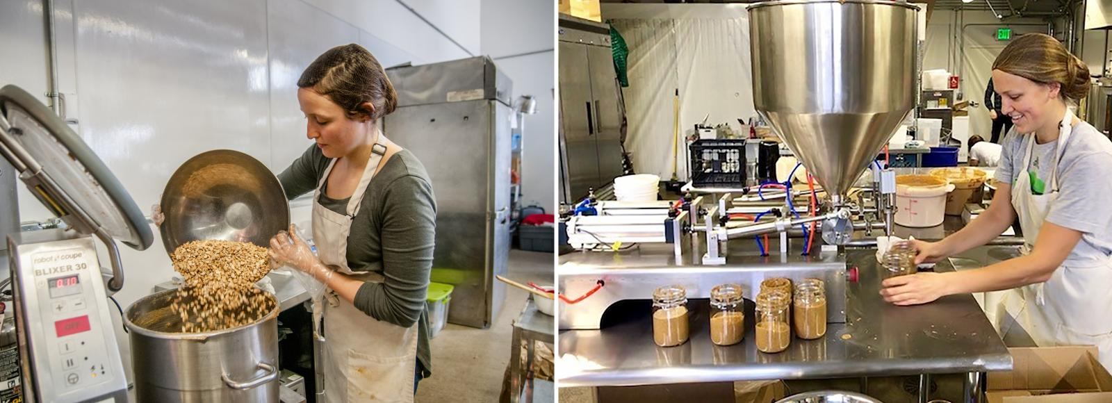 Two photos side-by-side. The left image shows a woman wearing an apron, hair net, and a long-sleeved T-shirt pouring a large stainless steel bowl of cashews into a stainless steel machine. The right photo shows a different woman also wearing an apron, hair net, and gray T-shirt using a machine to fill jars with nut butter.