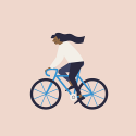 illustration of a woman riding a bicycle, hair streaming behind her, pink colored background