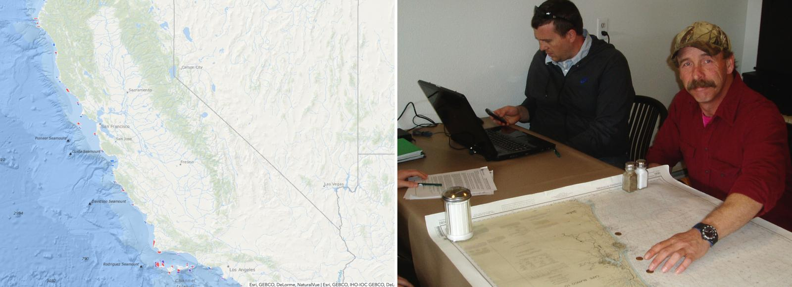 Two images side-by-side: Left image: A digital map showing small areas marked in red or blue along the California coast. Right image: A photo of a man, seated at a table, smiling at the camera. His left hand is on a map that is on the table. The map has four pennies on top of it. Another man sits in the background looking at his cell phone.