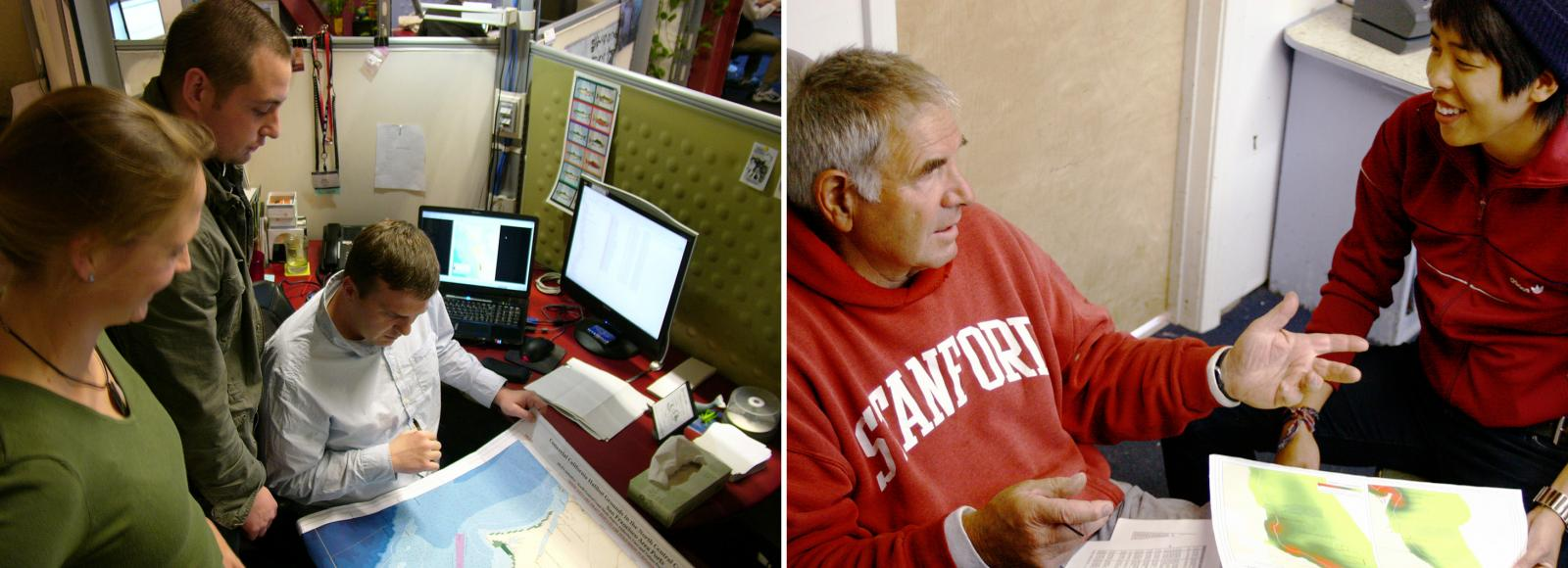 Two side-by-side photos. Left photo: woman and a man stand next to a man seated in a chair, who is holding a map at which they are all looking. Right photo: A man wearing a red Stanford sweatshirt speaks to a woman, who is holding a map. Both are sitting on the ground.