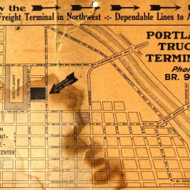 "old, stained piece of paper that advertises the ""Portland Truck Terminal"". From the 1930's."