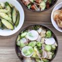 Poke and fermented vegetables displayed by Poke Mon, a Portland restaurant