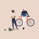 illustration of two people talking, one leaning on bike, light link background