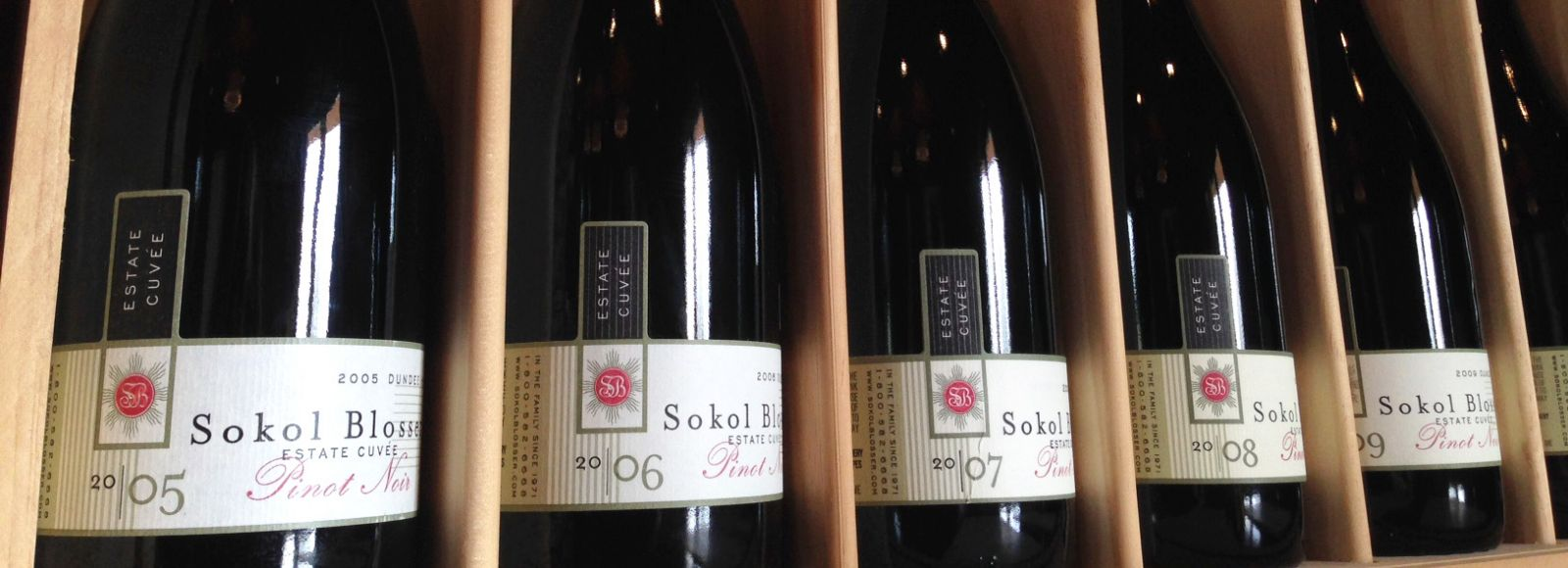 Five bottles of Sokol Blosser wine